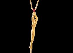 K18 ルビー 女神像ペンダントネックレス