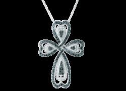 ブラック&ホワイト ダイヤ 2.10ct 十字架